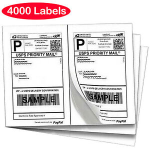 4000 Labels 8 5 x5 5 Half sheet Shipping Labels For Ups Fedex Self Adhesive