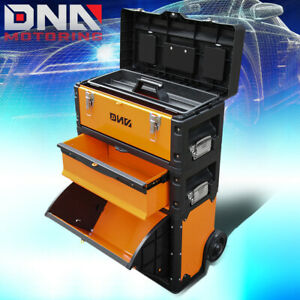 3 tier Stackable Separate Tool Boxes W extendable Handle Rolling Tool Trolley