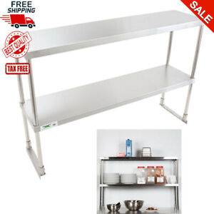 12 X 48 Stainless Steel Work Prep Table Commercial Double Deck Overshelf Shelf