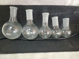 Lot Of 5 24 40 Round Bottom Flasks Pyrex Kimax Chemglass 250ml 200ml 50ml