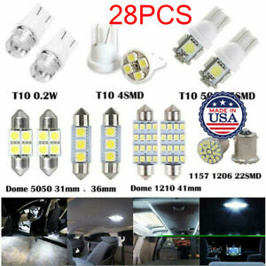 28pcs Auto Car Interior Package Map Dome License Plate Mixed Led Light Lamp Us
