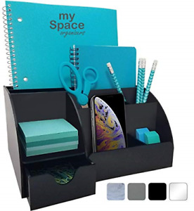 Acrylic Office Desk Organizer 9 Compartments Including Drawer Black 10x7 3x5inch