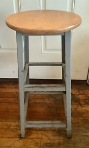 Vintage Industrial Wood Steel Metal Stool Shop Garage Mid Century Modern