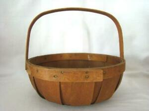 Antique Primitive Wood Staved Slat Handled Gathering Fruit Egg Veggie Basket