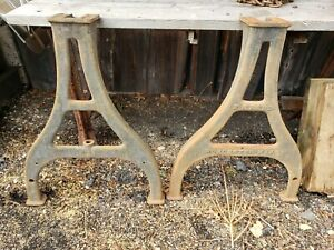 Antique Cast Iron Industrial Machine Table Legs Vintage Fe Reed Worcester Ma
