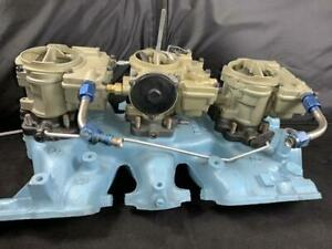 1959 Pontiac Oem Tri Power Rochester Carburetors Factory Original Intake 532422