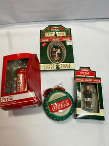Coca-Cola Christmas Ornaments  lot of 4/ Coke Can/ New In Box G3