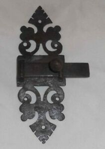 Antique Handmade Wrought Iron Sliding Arm Or Bolt Cabinet Or Door Latch