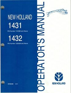 New Holland 1431 1432 Discbine Disc Mower conditioner Operator s Manual new