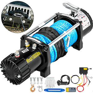 10000lbs Electric Winch 12v Synthetic Rope Off Road Atv Utv Truck Towing Trailer