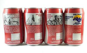Vintage Coca Cola Can Set San Diego 4 Cans Collection, Opened, Clean, Nice Set