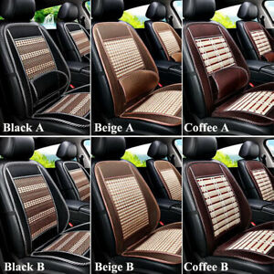 1x Wooden Bamboo Car Seat Cover Summer Cool Cushion Back Support Waist Massage