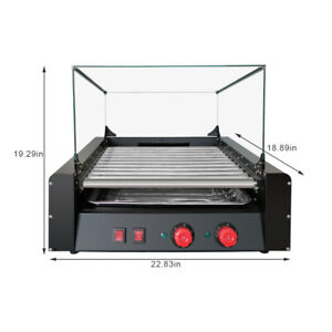 30hot Dogs 11 Roller Grill Cooker Machine cover Commercial Electric 1650w