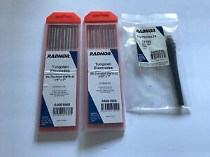 Radnor Tig Welding Rod Tungsten Electrode 1 8 x7 And 3 32 x7 2pk 10pc Each