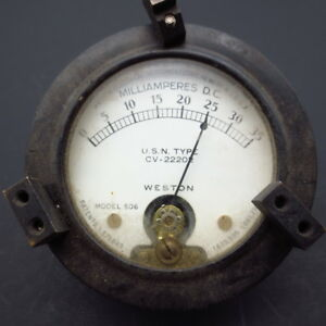 Vintage Weston Electrical Instruments Milliamperes Meter Model 506 Usa Made