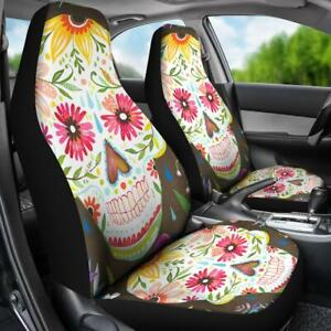 Set Of 2 Beautiful Sugar Skull Girl Car Seat Cover Sugar Skull Mexican Skull