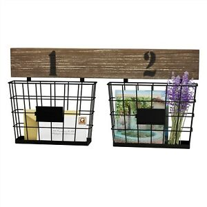 Double Wire Basket Organizers Wall Mount Mail Paper Storage Home Office Decor