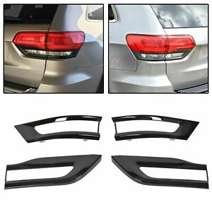For 2014 2020 Jeep Grand Cherokee Gloss Black Tail Light Lamp Trim Bezel Kit