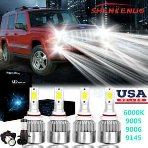 For Jeep Commander 2006 2010 6000k White Led Headlight Fog Light Bulbs Kit