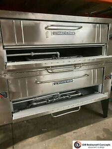Bakers Pride Y 602 Natural Gas Lp Double Deck Pizza Ovens Removed Working