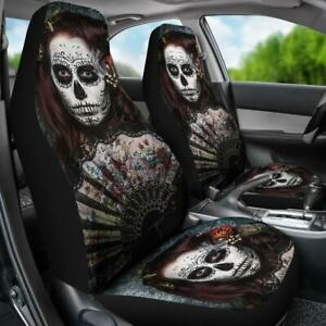 Set Of 2 Beautiful Girl Sugar Skull Day Of The Dead Skull Car Seat Cover