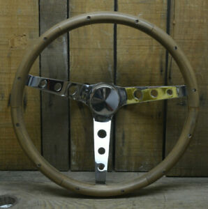 Woodgrain Steering Wheel W 1969 95 Chevy Adapter Camaro Chevelle Nova Muscle Car