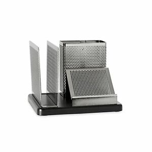 Rolodex Punched Metal And Wood Desk Organizer Black And Gunmetal e23552