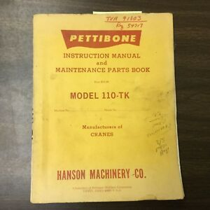 Pettibone 110 tk Truck Crane Instruction Manual Maintenance Parts Book Guide