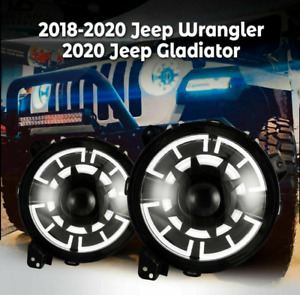 For 2018 Jeep Wrangler Jl Gladiator Jt Headlights Led Drl Projector Clear Pair