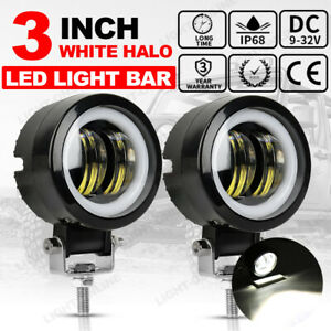Pair 3inch Led Work Pods White Halo Drl Driving Fog Lights Flush Mount For Ford