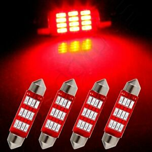 4pcs Red Replace Lamps 41mm Bulbs Car Interior Festoon Led Lights 12 smd 4014