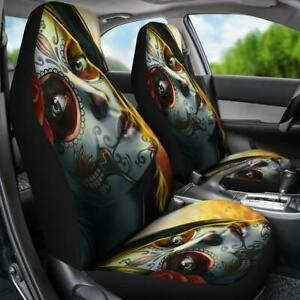 Set Of 2 Beautiful Sugar Skull Lady Girl Day Of The Dead Car Seat Cover