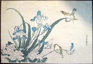 Hokusai Birds Irises Woodblock Print