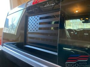 2009 2020 Dodge Ram Back Middle Window American Flag Decal Sticker Matt Black