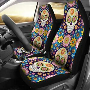 Set Of 2 Flower Sugar Skull Girl Halloween Horror Day Of The Dead Car Seat Cover