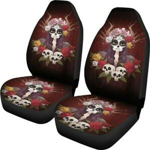Set Of 2 Flower Sugar Skull Beautiful Girl Horror Day Of The Dead Car Seat Cover