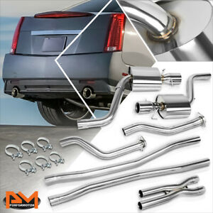 For 09 14 Cadillac Cts V 4 dr 6 2l Dual 4 5 muffler Tip Slip fit Catback Exhaust