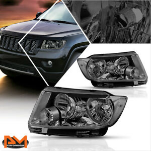 For 11 13 Jeep Grand Cherokee Headlight lamps Replacement Clear Corner Smoked