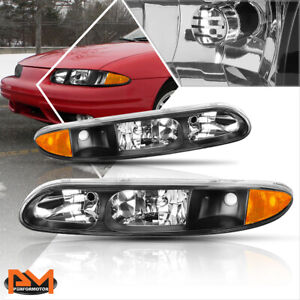 For 99 04 Oldsmobile Alero Replacement Headlight Lamps Black Housing Amber Side