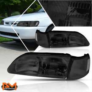 For 93 97 Corolla Direct Replacement Headlight lamps Smoked Housing Clear Corner