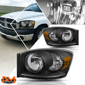 For 06 09 Dodge Ram 1500 2500 3500 Headlight Lamps Replacement Amber Side Black