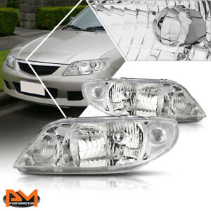 For 01 03 Mazda Protege Direct Replacement Headlight Lamps Clear Corner Chrome