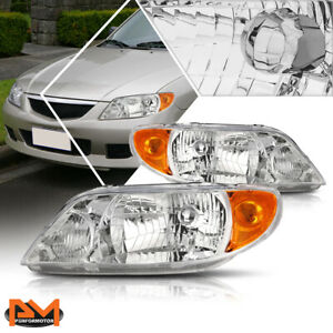 For 01 03 Mazda Protege Direct Replacement Headlight Lamps Amber Corner Chrome