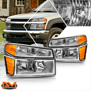 For 04 12 Chevy Colorado Gmc Canyon Bumper Headlight Lamps Amber Corner Chrome