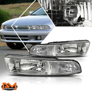 For 99 03 Mitsubishi Galant Direct Replacement Headlight Lamp Clear Side Chrome