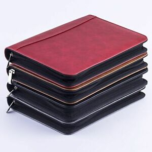 Faux Leather Padfolio Calculator Zipper Binder Notebook Briefcase File Folder