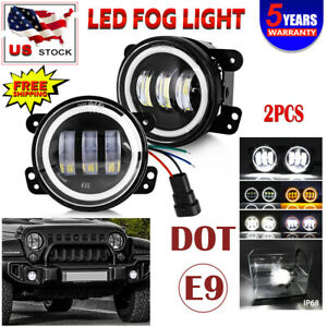 Pair 4 Led Fog Lights Halo Angel Eyes Front Bumper Lamp w Drl White Amber Turn