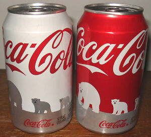 PAIR OF BOTTOM OPENED 12 OZ 2011 WHITE & RED POLAR BEAR COCA-COLA / COKE CANS
