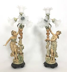 Vintage Art Nouveau Francaise L F Moreau Female Figural Table Lamp Pair 35 5