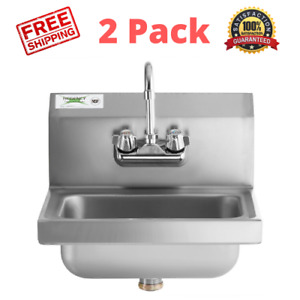 Two 17 X 15 Hand Wash Sink W Faucet Commercial Stainless Steel Wall Mount Kit